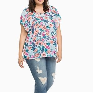 TORRID Floral Chiffon Blouse with Back Bow